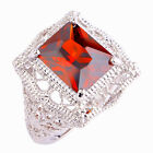 Garnet Ruby Spinel Pink Tourmaline Gemstone Silver Ring Size 6 7 8 9 10 11 12 13