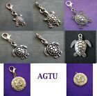 PICK YOUR CHARM ~ Clip On Silver Turtle Tortoise Charm (or attach to zip)