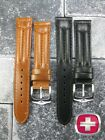 NEW WENGER SWISS ARMY Black Leather Strap Brown Watch Band 20mm 19mm 18mm X1