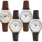 Reflex Ladies Date Watch Black Leather Strap Polished Plated Round Case