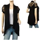 Laced Black Open Front Plus Size Cardigan