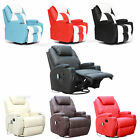 FoxHunter Bonded Leather Massage Recliner Cinema Sofa Chair Armchair Swivel Heat