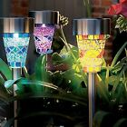 4-12 Stainless Steel Solar Mosaic Garden Stake Lights Outdoor Rechargeable Lamps