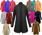 LADIES CABLE KNIT BOYFRIEND WATERFALL GRANDED LONG JUMPER CARDIGAN TOP PLUS SIZE
