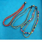 Brass, Bell & Colour Beaded Anklet Indian Ethnic Surf Boho Hippy Festival
