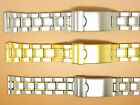 Stainless Steel Two-Tone Gold Plated Watch Strap Bracelet 18mm 20mm Slide Ends