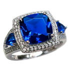 BEAUTIFUL 4 CT SAPPHIRE 925 STERLING SILVER RING SIZE 5-10