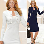Womens Long Sleeve Mini Coat With Pencil Skirt Suit Ladies 2 Piece Dress Office