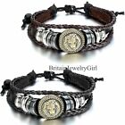 Cool Lion Head Pattern Multilayer Braided Leather Men's Cuff Bracelet Wristband