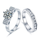 2Ct Ladies 925 Sterling Silver 3 Round Cut Engagement Wedding Ring-Diamond Look