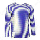 Light Blue Long Sleeve TELNYASHKA Vintage Weave RUSSIAN Stripe T-Shirt All Sizes