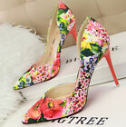 New Women Shoes Party Pointy Shoes Slim High Heel Flower Pattern UK Size s960