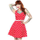 Sourpuss Polka Dot Floozy Dress Retro Pin Up Rockabilly Skater Red 50s Vintage