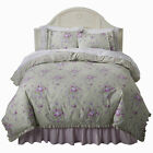 NEW SIMPLY SHABBY CHIC DUVET COVER SET KING FULL QUEEN TWIN LILAC BLUE GREEN RED