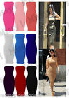Womens Celeb Bandeau Strapless Boobtube Bodycon Midi Dress Also Plus Size 8-22