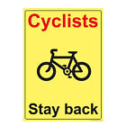 10 X Cyclists RED Stay Back Beware Printed Sticker Warning Self Adhesive Decal