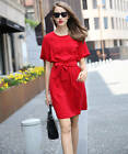 Women's Round Neck With Belt a Line Party Homecoming Fashion Mini Dress Hot Red