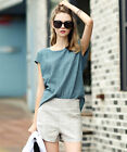 Women's Exquisite Casual Linen Lady Short Sleeve Blue Top and White Short Pants