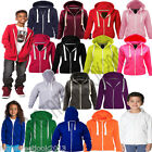 Kids Girls & Boys Unisex Plain Fleece Hoodie Zip Up Style Zipper Age 1-13 Years