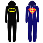 Kids Boys Girls Superman Batman Hooded All In One Piece Onesie Jumpsuit 7-14yrs