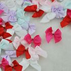 60pcs Mini Satin Ribbon Flowers W/Beads Bows Gift Craft Wedding Decoration A0188