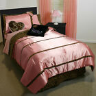 NEW CLAIRE'S CATWALK 4 PC TWIN OR 5 PC FULL COMFORTER SET PINK & LEOPARD PRINT