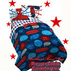SPIDER MAN SUPER HEROES Blue REVERSIBLE TWIN FULL COMFORTER + Twin Single Sheets
