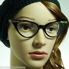 60s Vintage Cat Rhinestone Crystal Pointed Women Frame Clear Lens Eye Glasses