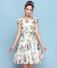 Women's New Summer V-shaped Backless Sleeveless Floral White Formal A-line Dress