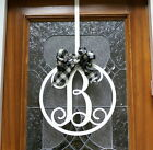 Circular Fancy Script Metal Door or Wall Initial Monogram Hanger Sign