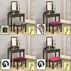FC468 THEMED ESPRESSO CAPPUCCINO MAKE UP VANITY TABLE W/ CUSHION BENCH MIRROR