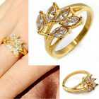 Fashion Womens Cocktail CZ Crystal Flower Golden Stainless Steel Band Ring Gift
