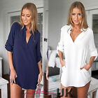 UK Women Summer Casual Sexy Drape Back Tops Shirt Blouse Ladies Size 6-14