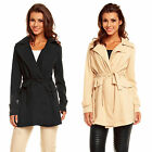 J622 DAMEN JACKE BLOGGER MANTEL GÜRTEL TRENCHCOAT QUILTED LONG S M L XL