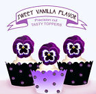 Purple Pansy Flower Party EDIBLE Tasty Wafer Cup cake Toppers PRECUT cupcake