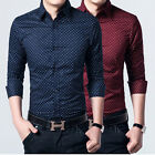 ZUK6266 New Mens Fashion Casual Formal Stylish Slim Fit Polka Dot Dress Shirts