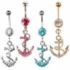 1Pc Hot Rhinestone Anchor Dangle Button Barbell Navel Belly Body Piercing