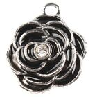 New Black&White Rhinestone Silver Edge Rose Dots Charms Zinc Alloy Making Lots L