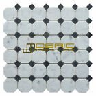 """Marble Mosaic Tile, """"Dot Collection"""" MM 7301 - Black, 2""""X2"""" Octagon , Honed"""