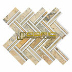 """Marble Mosaic Tile, """"Quilt Collection"""" MM 8104 - Moore, 12""""X11"""", Polished"""