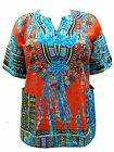 eaonplus Unisex COTTON DASHIKI Kaftan Tunic Top ORANGE TIE DYE  Sizes 16 to 28