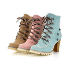 Women Boots Laces Up Thick High Heel Lady Shoes Pumps Martin Ankle UK Size F045