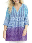ULLA POPKEN Blue TINA EMBROIDERED Dip Dye Babydoll Tunic Top Szs 12/14 & 16/18