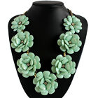 Pendant Chain Crystal Choker Chunky Statement Flowers Necklace Fashion Jewelry