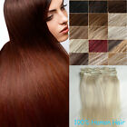 "Delux Thick Full Head Remy 100% Human Hair Clip In Hair Extensions 16"" 70g-120g"