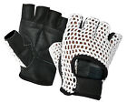 CROCHET BUS DRIVING GLOVES LEATHER WEIGHT LIFTING CYCLING WHEELCHAIR FINGERLESS