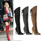NEW WOMENS LADIES THIGH HIGH OVER THE KNEE BOOTS LACE UP CUT OUT STILLETO SIZE