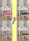 RK27 WHITE FINISH MAKE UP VANITY TABLE DESK WITH SEAT CUSHION BENCH & MIRROR