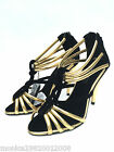 Zara Black And Gold High Heel Sandals Party Shoes Uk 3 4 5 6