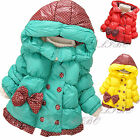 Girl Kid Baby Toddler Bow knot Double-breasted Hoodie Puffer Coat Fleece Jacket